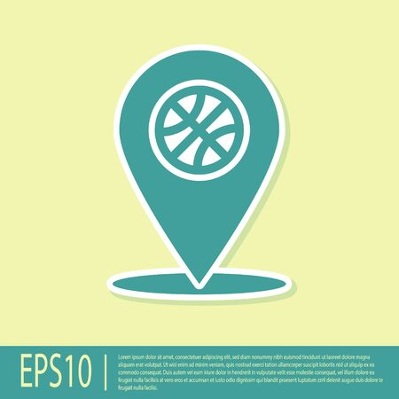 Green Location with basketball ball inside icon isolated on yellow background. Vector Illustration