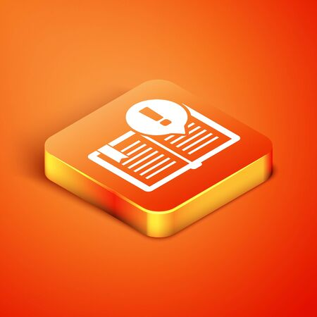 Isometric Interesting facts icon isolated on orange background. Book or article sign. Exclamation mark sign. Vector Illustration Illustration