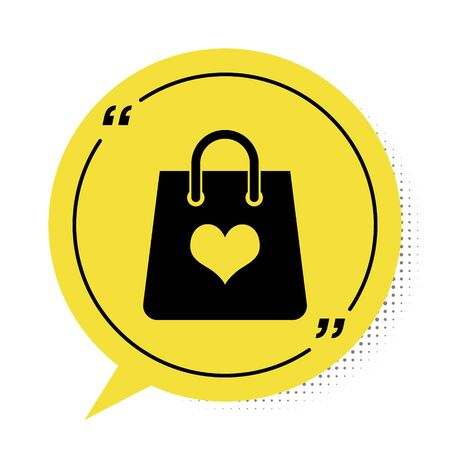 Black Shopping bag with heart icon isolated on white background. Shopping bag shop love like heart icon. Valentines day symbol. Yellow speech bubble symbol. Vector Illustration