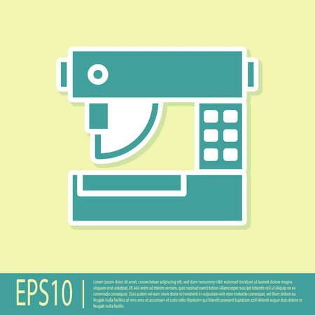 Green Sewing machine icon isolated on yellow background. Vector Illustration