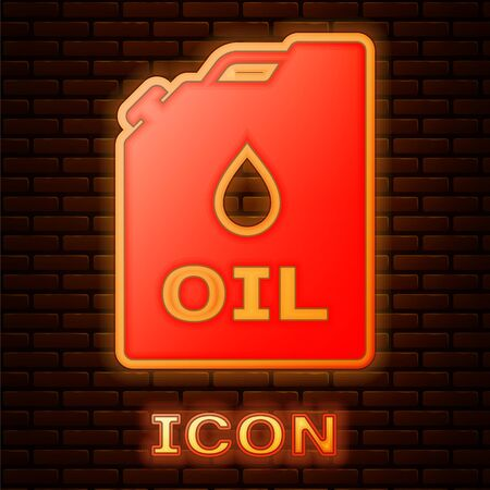 Glowing neon Plastic canister for motor machine oil icon isolated on brick wall background. Oil gallon. Oil change service and repair. Engine oil sign. Vector Illustration