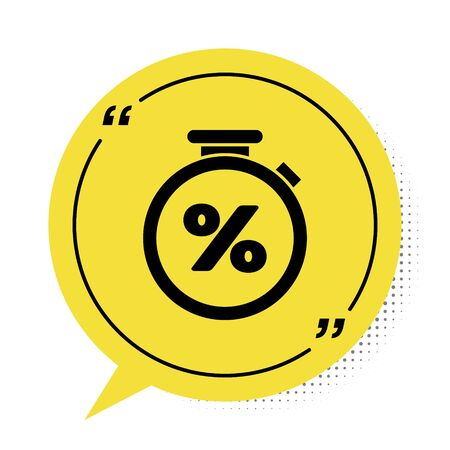 Black Stopwatch and percent discount icon isolated on white background. Time timer sign. Yellow speech bubble symbol. Vector Illustration
