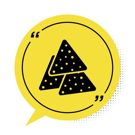 Black Nachos icon isolated on white background. Tortilla chips or nachos tortillas. Traditional mexican fast food. Yellow speech bubble symbol. Vector Illustration