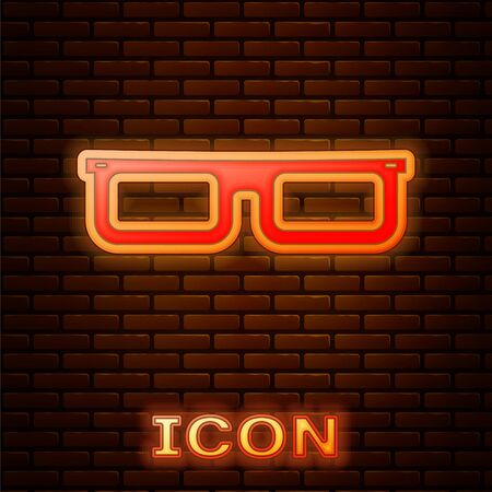 Glowing neon Glasses icon isolated on brick wall background. Eyeglass frame symbol. Vector Illustration Иллюстрация