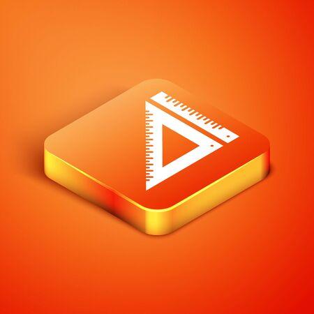 Isometric Triangular ruler icon isolated on orange background. Straightedge symbol. Geometric symbol. Vector Illustration Çizim