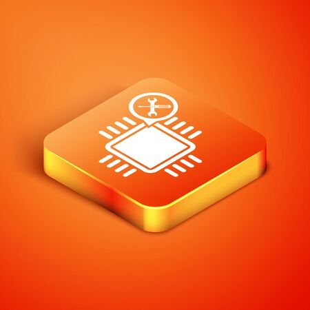 Isometric Processor with screwdriver and wrench icon isolated on orange background. Adjusting, service, setting, maintenance, repair, fixing. Vector Illustration