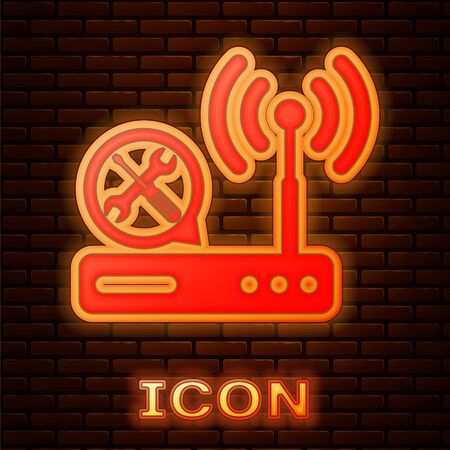 Glowing neon Router with screwdriver and wrench icon isolated on brick wall background. Adjusting, service, setting, maintenance, repair, fixing. Vector Illustration 向量圖像