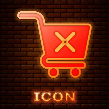 Glowing neon Remove shopping cart icon isolated on brick wall background. Online buying concept. Delivery service sign. Supermarket basket and X mark. Vector Illustration Çizim