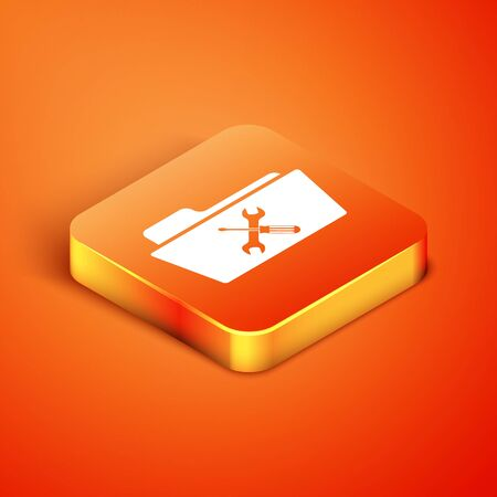 Isometric Folder with screwdriver and wrench icon isolated on orange background. Adjusting, service, setting, maintenance, repair, fixing. Vector Illustration