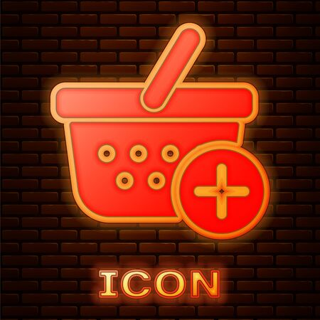 Glowing neon Add to Shopping basket icon isolated on brick wall background. Online buying concept. Delivery service sign. Supermarket basket symbol. Vector Illustration