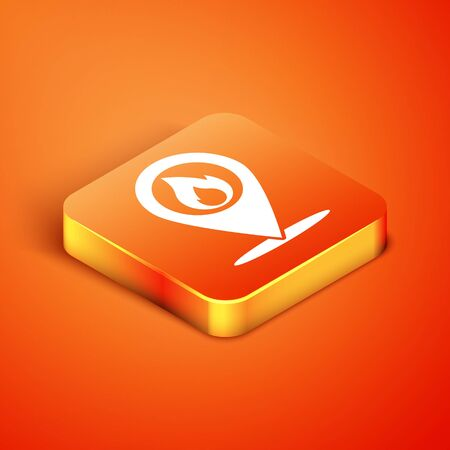 Isometric Map pointer with fire flame icon isolated on orange background. Fire nearby. Vector Illustration