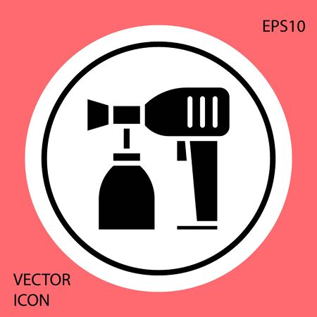 Black Paint spray gun icon isolated on red background. White circle button. Vector Illustration