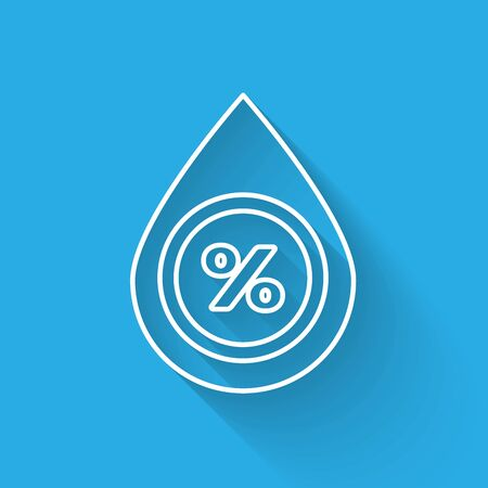 White line Water drop percentage icon isolated with long shadow. Humidity analysis. Vector Illustration