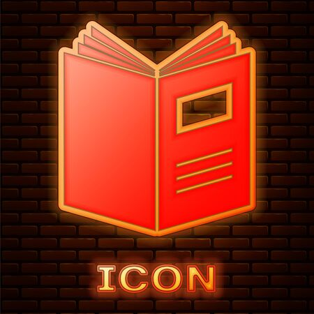 Glowing neon Open book icon isolated on brick wall background. Vector Illustration 版權商用圖片 - 134890457