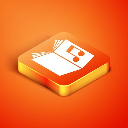 Isometric Audio book icon isolated on orange background. Musical note with book. Audio guide sign. Online learning concept. Vector Illustration 版權商用圖片 - 134892413