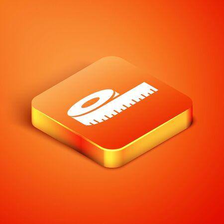 Isometric Tape measure icon isolated on orange background. Measuring tape. Vector Illustration