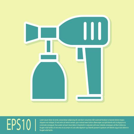 Green Paint spray gun icon isolated on yellow background. Vector Illustration Stock Illustratie