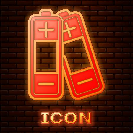 Glowing neon Battery icon isolated on brick wall background. Lightning bolt symbol. Vector Illustration
