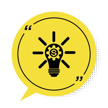 Black Light bulb with gear inside and dollar symbol icon isolated on white background. Fintech innovation concept. Yellow speech bubble symbol. Vector Illustration Ilustracja