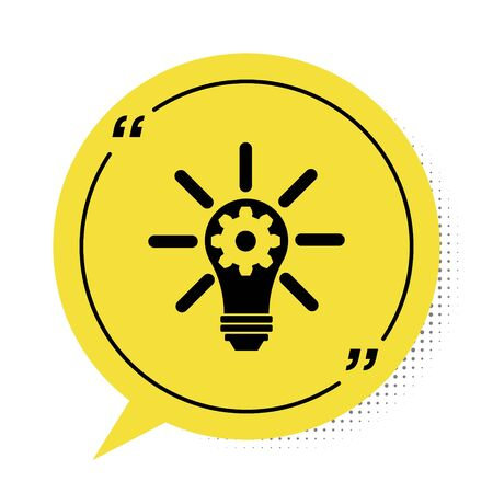 Black Light bulb with rays shine and gear inside icon isolated on white background. Innovation concept. Yellow speech bubble symbol. Vector Illustration