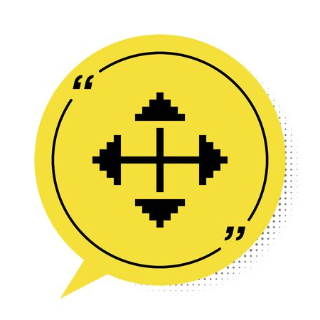 Black Pixel arrows in four directions icon isolated on white background. Cursor move sign. Yellow speech bubble symbol. Vector Illustration