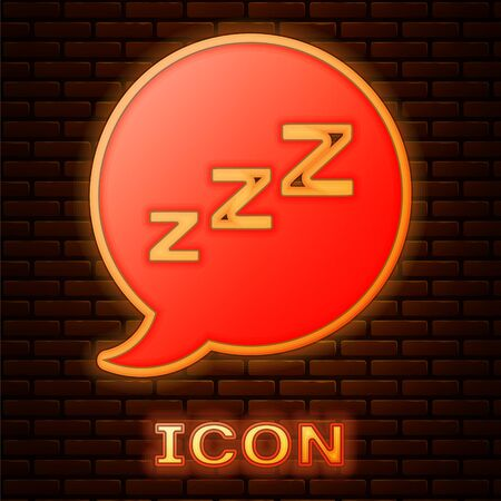 Glowing neon Speech bubble with snoring icon isolated on brick wall background. Concept of sleeping, insomnia, alarm clock app, deep sleep, awakening. Vector Illustration