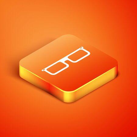 Isometric Glasses icon isolated on orange background. Eyeglass frame symbol. Vector Illustration