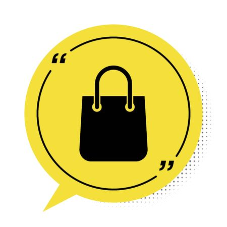 Black Shopping bag icon isolated on white background. Package sign. Yellow speech bubble symbol. Vector Illustration