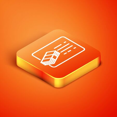 Isometric Financial document line icon isolated on orange background. Invoice and money icon. Budget planning, money saving and paying debt concept. Vector Illustration Çizim
