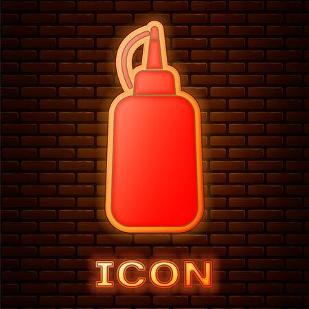 Glowing neon Mustard bottle icon isolated on brick wall background. Vector Illustration