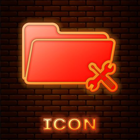 Glowing neon Folder with screwdriver and wrench icon isolated on brick wall background. Adjusting, service, setting, maintenance, repair, fixing. Vector Illustration