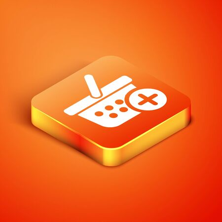 Isometric Add to Shopping basket icon isolated on orange background. Online buying concept. Delivery service sign. Supermarket basket symbol. Vector Illustration