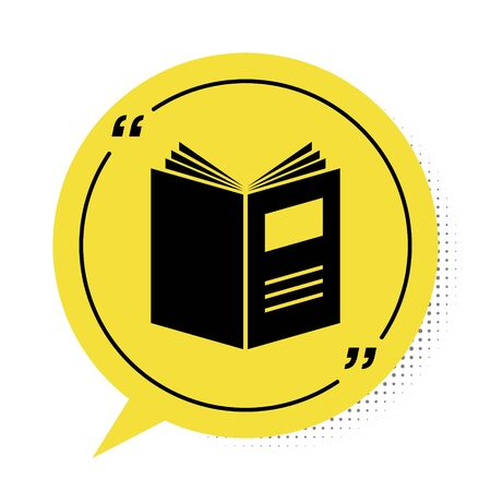 Black Open book icon isolated on white background. Yellow speech bubble symbol. Vector Illustration