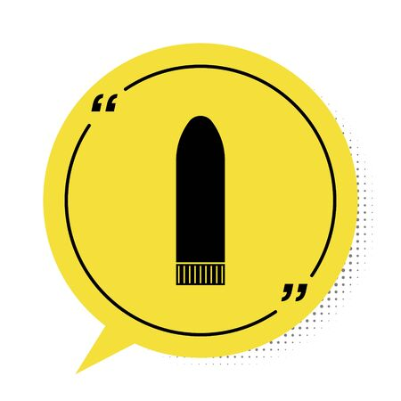 Black Dildo vibrator for sex games icon isolated on white background. Sex toy for adult. Vaginal exercise machines for intimate. Yellow speech bubble symbol. Vector Illustration Ilustrace