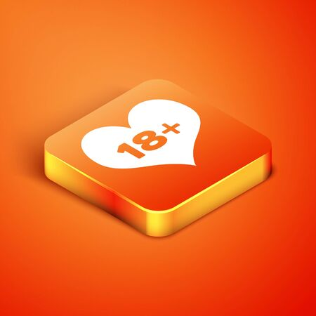 Isometric 18 plus content heart icon isolated on orange background. Adults content only icon. Vector Illustration