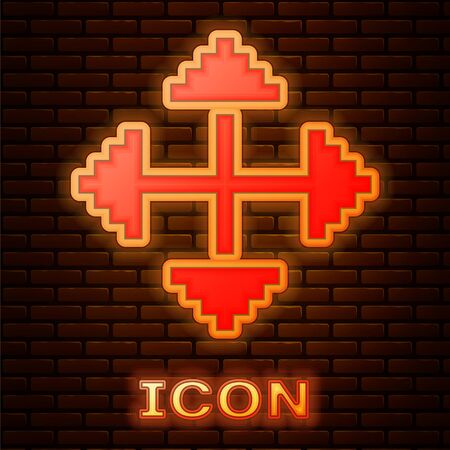 Glowing neon Pixel arrows in four directions icon isolated on brick wall background. Cursor move sign. Vector Illustration
