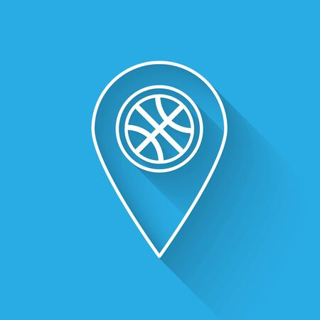 White line Location with basketball ball inside icon isolated with long shadow. Vector Illustration Çizim