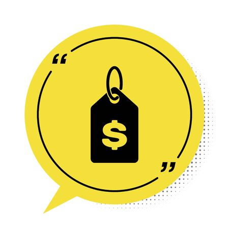 Black Price tag with dollar icon isolated on white background. Badge for price. Sale with dollar symbol. Promo tag discount. Yellow speech bubble symbol. Vector Illustration