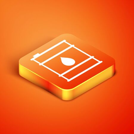 Isometric Oil barrel line icon isolated on orange background. Oil drum container. For infographics, fuel, industry, power, ecology. Vector Illustration