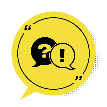 Black Speech bubbles with Question and Exclamation icon isolated on white background. FAQ sign. Copy files, chat speech bubble and chart. Yellow speech bubble symbol. Vector Illustration Çizim