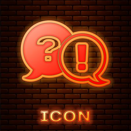 Glowing neon Speech bubbles with Question and Exclamation icon isolated on brick wall background. FAQ sign. Copy files, chat speech bubble and chart. Vector Illustration