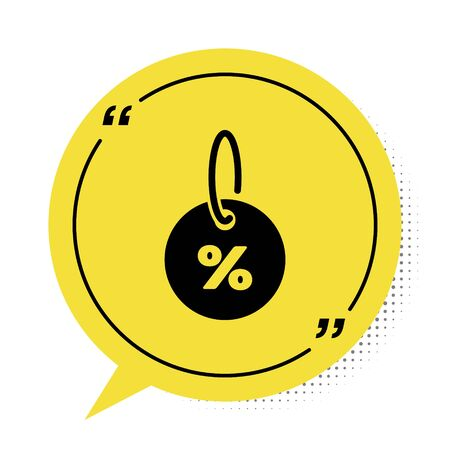 Black Discount percent tag icon isolated on white background. Shopping tag sign. Special offer sign. Discount coupons symbol. Yellow speech bubble symbol. Vector Illustration