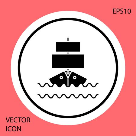 Black Ship icon isolated on red background. White circle button. Vector Illustration 向量圖像