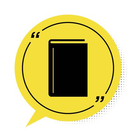 Black Book icon isolated on white background. Yellow speech bubble symbol. Vector Illustration 向量圖像