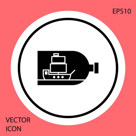 Black Glass bottle with ship inside icon isolated on red background. Miniature model of marine vessel. Hobby and sea theme. White circle button. Vector Illustration Ilustracja
