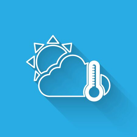 White line Thermometer and cloud with sun icon isolated with long shadow. Vector Illustration Illusztráció