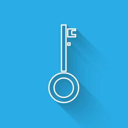 White line Pirate key icon isolated with long shadow. Vector Illustration