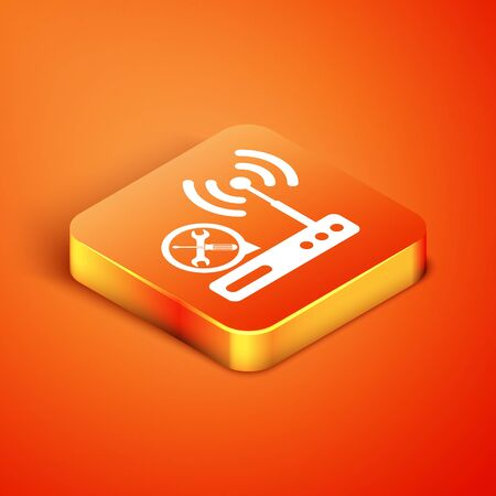 Isometric Router with screwdriver and wrench icon isolated on orange background. Adjusting, service, setting, maintenance, repair, fixing. Vector Illustration