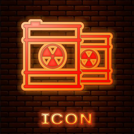 Glowing neon Radioactive waste in barrel icon isolated on brick wall background. Toxic refuse keg. Radioactive garbage emissions, environmental pollution. Vector Illustration Stock Illustratie