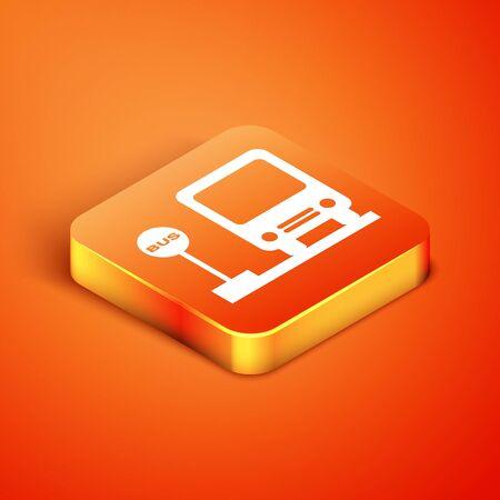 Isometric Bus stop icon isolated on orange background. Transportation concept. Bus tour transport sign. Tourism or public vehicle symbol. Vector Illustration 向量圖像